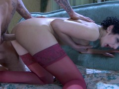 Lustful chick with her ass stuffed with a dildo gets a dosage of male meatvideo