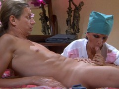Nobody stays in bed for long when sexy mature doc Lily starts treating her patients. She tells the guy to undress before examining him so thoroughly his cock begins bulging in his boxers. Then this robed older nympho goes down to blow her patient�s dick to check his stamina and later he feels like lapping up her juicy pussy too. Finally, after a vigorous cowgirl fuck he will feel much better for sure.video
