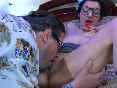 Cute brunette Inessa gets older man Morgan's cock good and hard by giving him a blowjob during their afternoon tryst.  Moran is all about getting into that steamy hot pussyhole of hers and then stuffing his  fat juicy dick so deep into her tight juicy young vagina that when he cums she squeals with delight.video