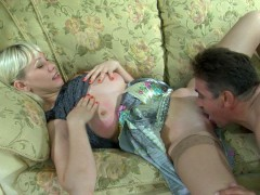 This cute blonde Natali is a nasty young slut who will stop at nothing to get an older man's boner real stiff and that's what she does here with Frank.  The older gentleman knows that gripping girl vagina of hers is just begging him to fuck her hard and on the sofa she starts by giving him a blowjob.  That thick dick is now ready to plunge into her nasty girl cunt and ream her out.  She's squeaking as his hard gentleman's cock bursts a hot wad of spuzz deep in her younger cunt.video