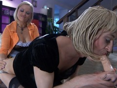 Susanna brings a little something for her nasty sissy boyfriend Austin A, and this something is a huge strapon cock. Today he�s wearing a little black dress with a braided blonde wig, looking slutty enough to be treated like a tart. Once Austin turns into his feminine self, he will eagerly blow the strapon, so he can later take it up the ass like a girl. You should see him getting utterly degraded by his strapon-armed girl!video
