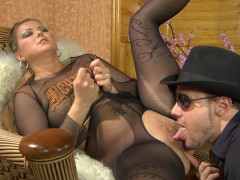 Stacked gal gets pussy eaten and boned thru her fashion sheer-to-waist hose video