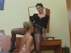 French maid in control top hose can't conceal desire to taste nylon pussyvideo